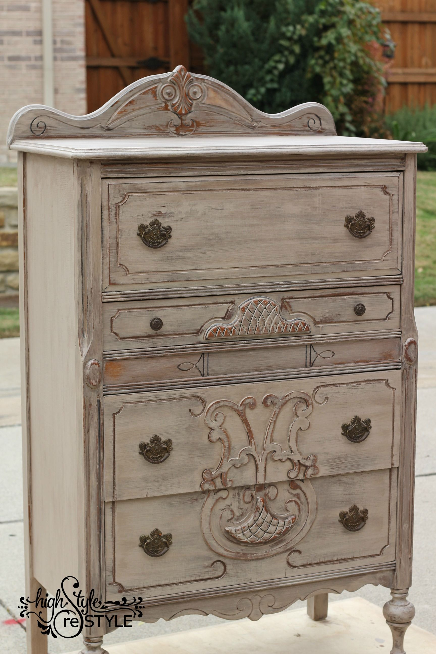 Antique Chest painted in van Gogh Fossil Paint's Chivalry
