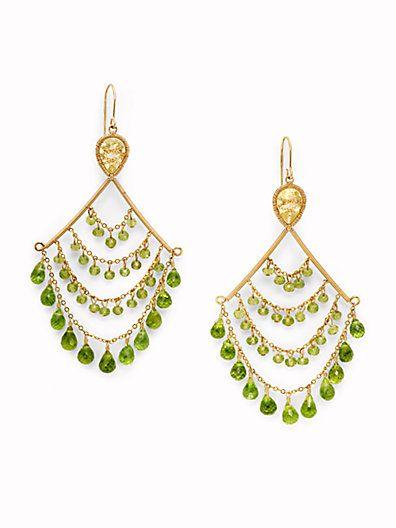 Andara Peridot Chandelier Earrings Green Wire Statement