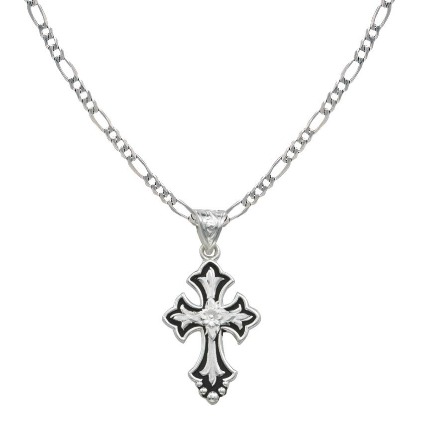 Montana Silversmiths Silver and Black Cross Necklace Cross