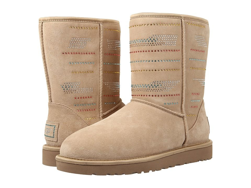 Womens Boots UGG Classic Short Serape Bling Sand Twinface