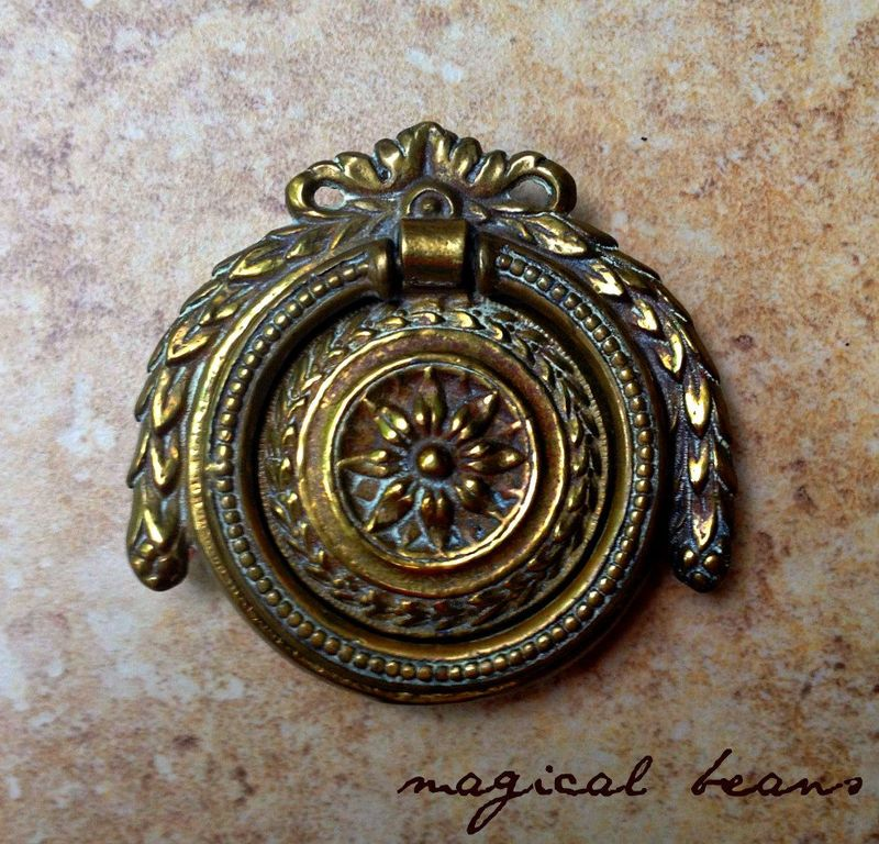 Antique Brass Drawer Long Drop Pull Round Backplate Victorian