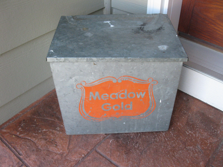 Galvanized Milk Box Vintage Milk Box Meadow Gold Porch Box Etsy Milk Box Milk Delivery Porch Boxes