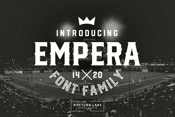Empera Is A Fearless Athletic Font Family With Six Creative Styles For Added Flexibility And Variation Its Perfect Sports Logos Branding Posters