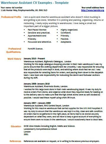 Warehouse Assistant CV Example Education Pinterest Cv examples - warehouse resume samples