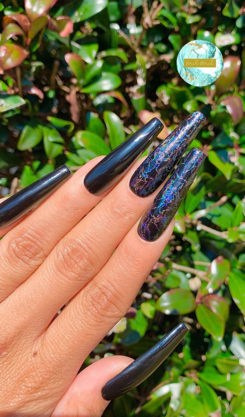 Dream Set Xxl Coffin Xxl Long Press On Nails Holo Marble Etsy In 2020 Long Press On Nails Press On Nails Pretty Acrylic Nails