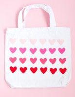 DIY Simple Heart Stamped Bag