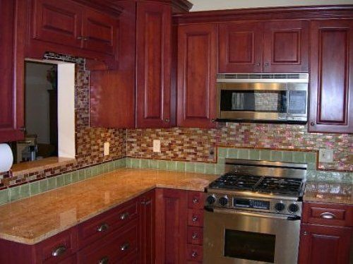 Backsplash Design For Kitchen Cherry Cabinets Kitchen Cherry