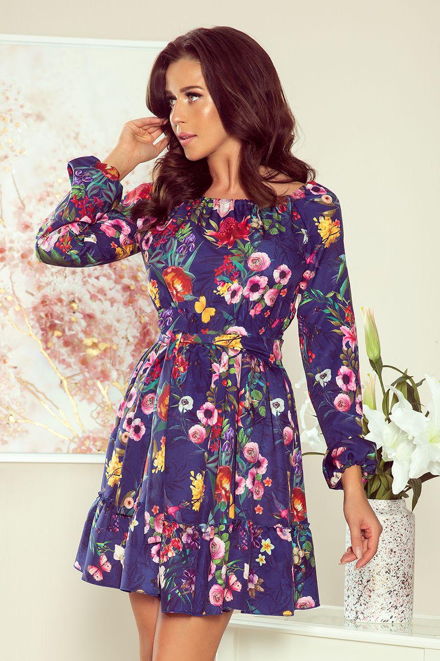 265 2 Daisy Sukienka Z Falbankami Kwiaty Na Granatowym Tle Dresses Fashion Dresses Daisy Dress