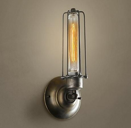 pipe bulb fixture pin wall sconce industrial style light edison lamp