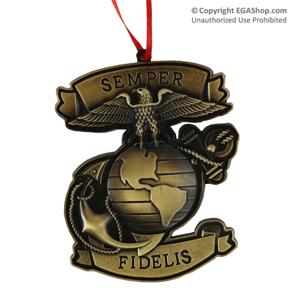 Metal Ornament With Eagle Globe And Anchor And Semper Fidelis In Ribbons Below And Above Military Shadow Box Marine Corps Bootcamp Metal Ornament