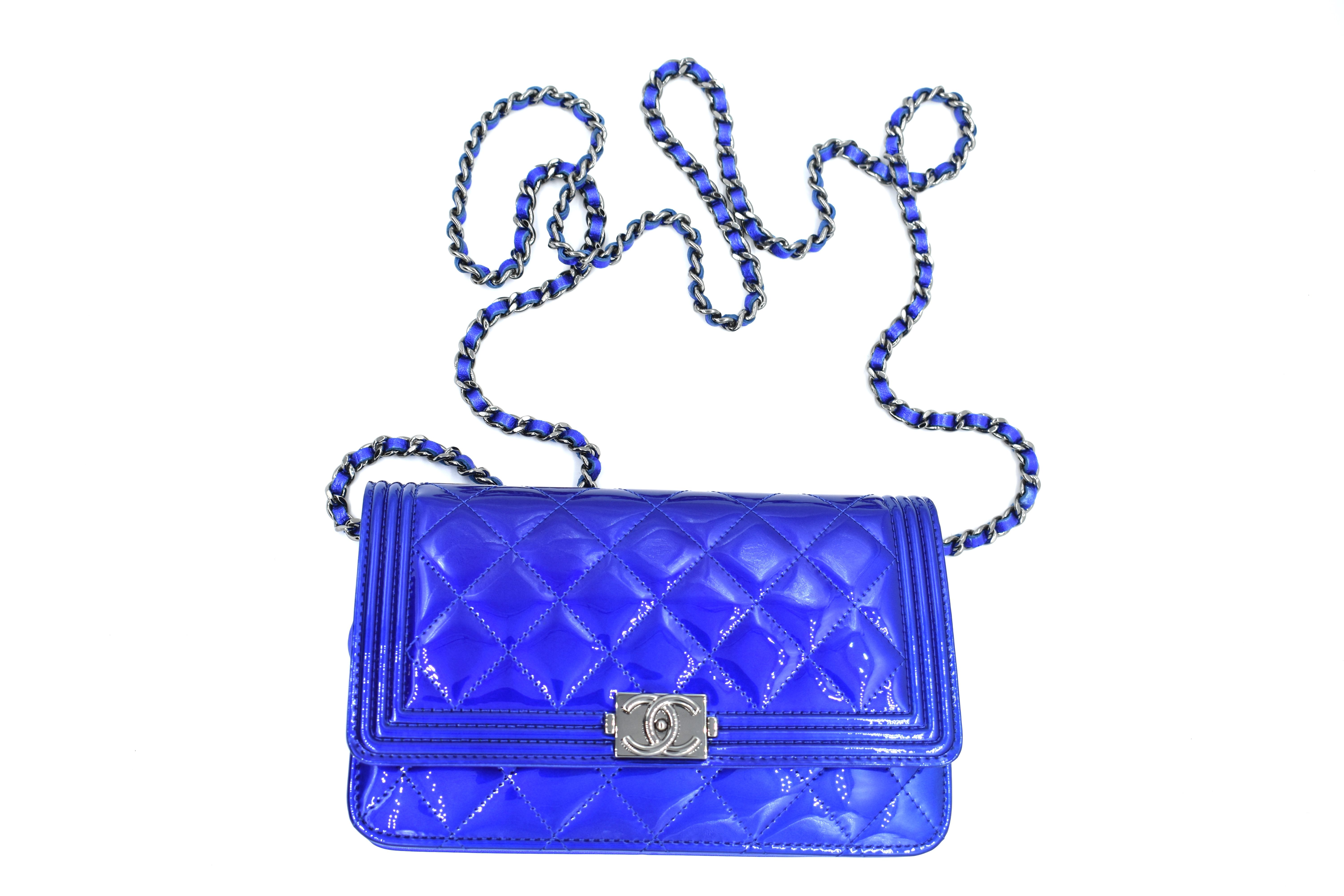 8ecdba64b097 All the Chanel, all the time. Rent this patent leather, electric blue Chanel  flap bag from DesignerShare.