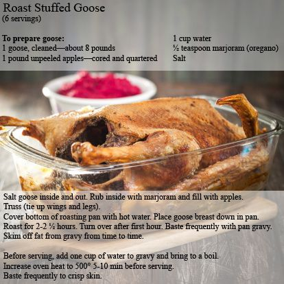 With Passover beginning April 14, here is a Kosher for Passover recipe for roast goose. Create this delicious dishes to serve family and friends year-round.
