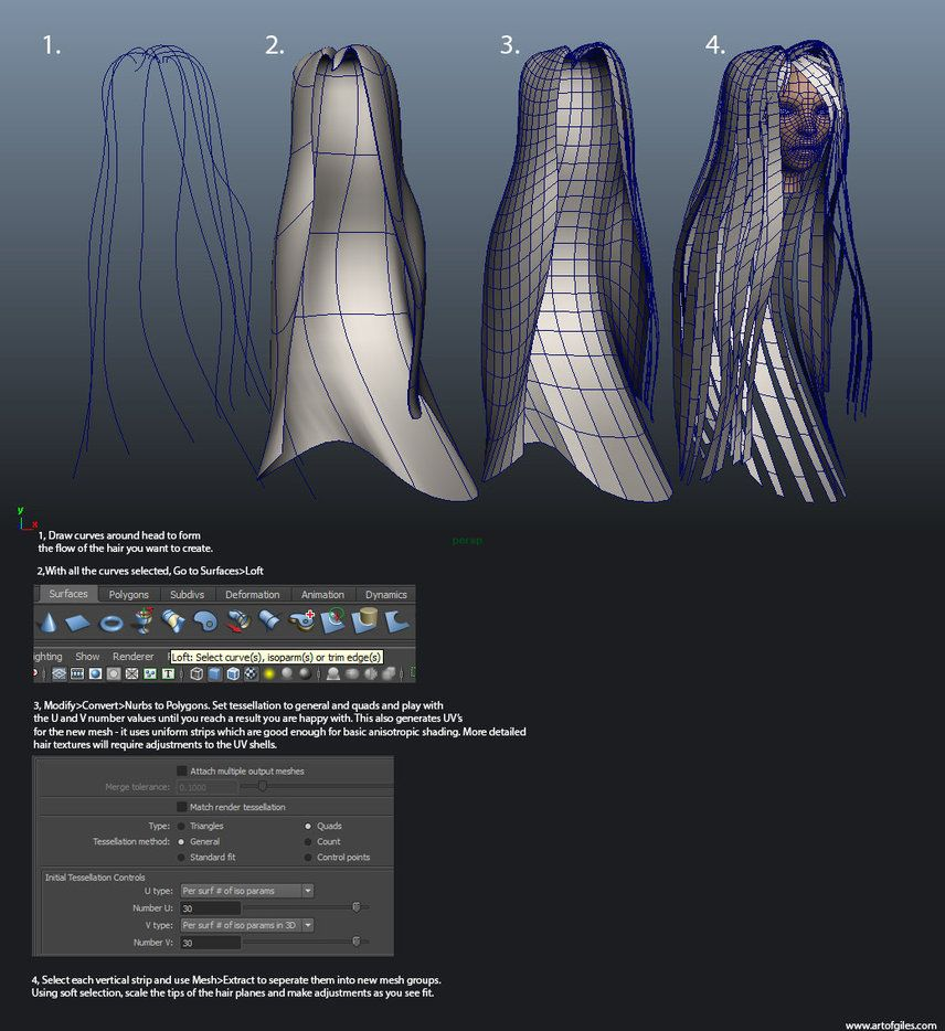 Hair planes tutorial for Maya.