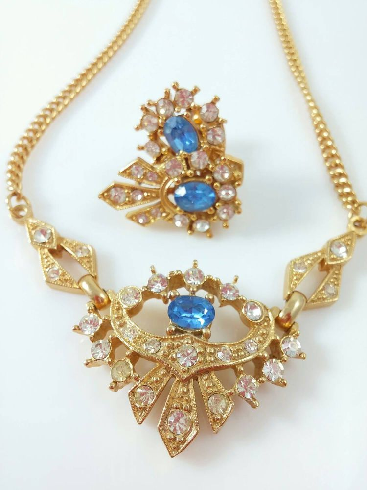 Necklace and Earring Set- Vintage Gold Tone Blue and Clear Crystals, Screw Back