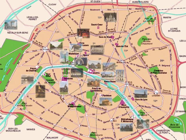 Historical and PresentDay Maps of Paris Go Back in Time – Map of Paris with Landmarks