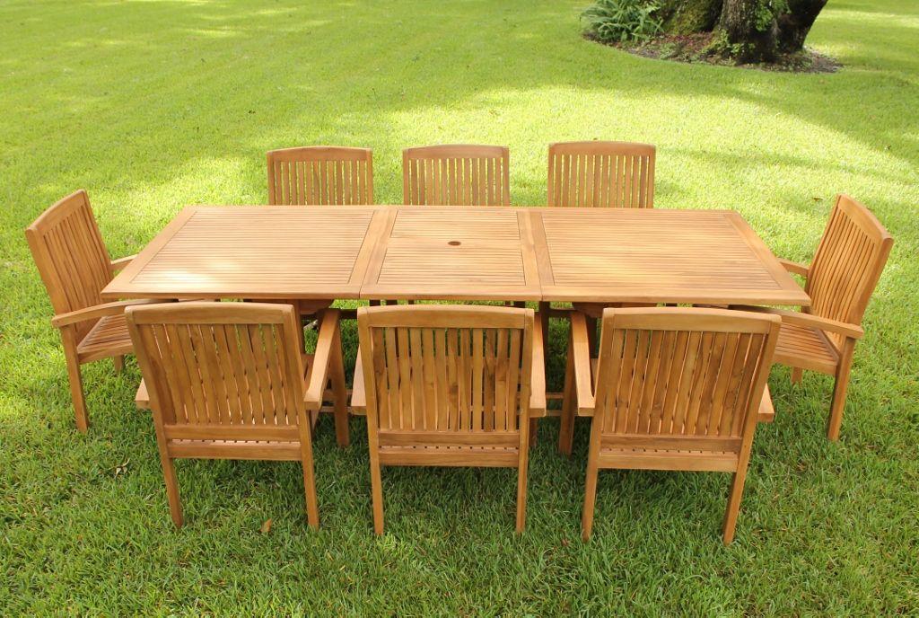 Ocean Rectangular Table U0026 8 Pacific Armchairs Teak Set | Oceanic