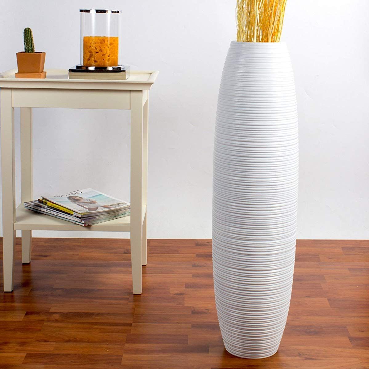 Leewadee Tall Floor Vase 30 inches, Wood, White Floor