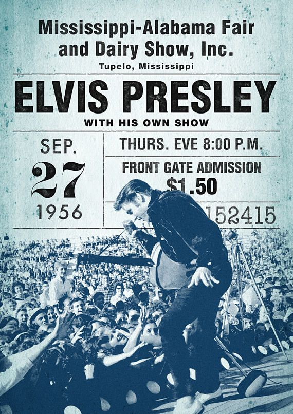 b191e7a768fdd Elvis Presley Poster, Fair & Dairy, concert poster, Elvis concert ...