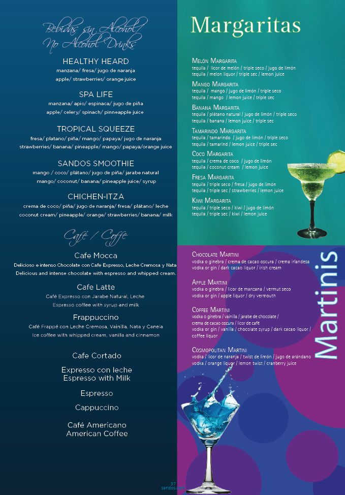 Here Is A Menu Of The Coffees Margaritas And Smoothies