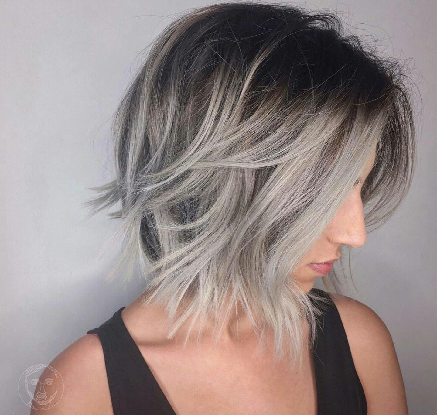 Image result for older grey hair hair blunt cut or layers hair in