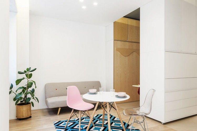 Mini Apartment Bewegliche Wand Wohnbereich Esstisch #innendesign #apartment  #interior #design