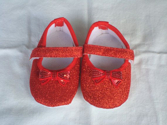 Baby Girl Red Crib Shoes Red Glitter Shoes Baby Bow Shoes Soft Red