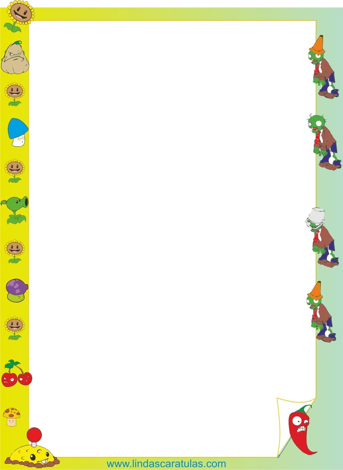 Borders for kid imagenes para colorear plantas vs zombies caratulas escolares pinterest - Marcos para plantas ...
