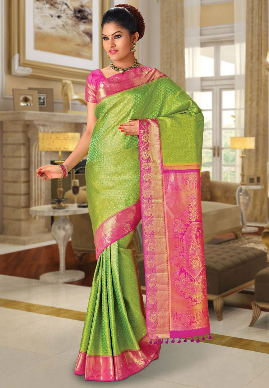 Neon Green Pure Kanchipuram Handloom Silk Saree with Blouse