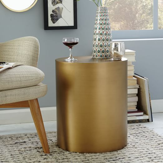 45 Table Coffee Side Accent Metal Drum West Elm