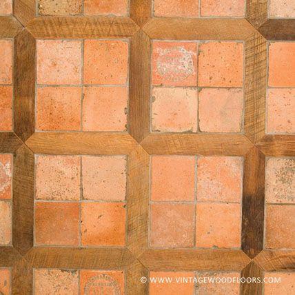 Terra Cotta Tile With Antique Oak Pickets The Vintage Wood Floor