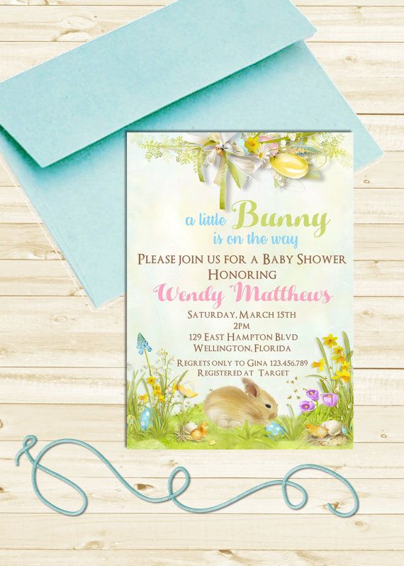 Bunny Baby Shower Invitation Easter
