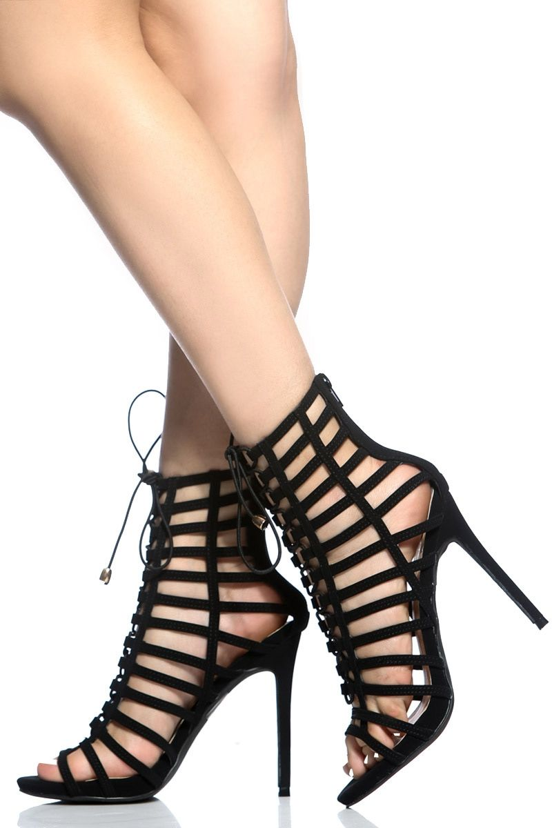 1878ce692 Black Faux Nubuck Lace Up Multi Strap Heels @ Cicihot Heel Shoes online  store sales:Stiletto Heel Shoes,High Heel Pumps,Womens High Heel Shoes,Prom  Shoes ...
