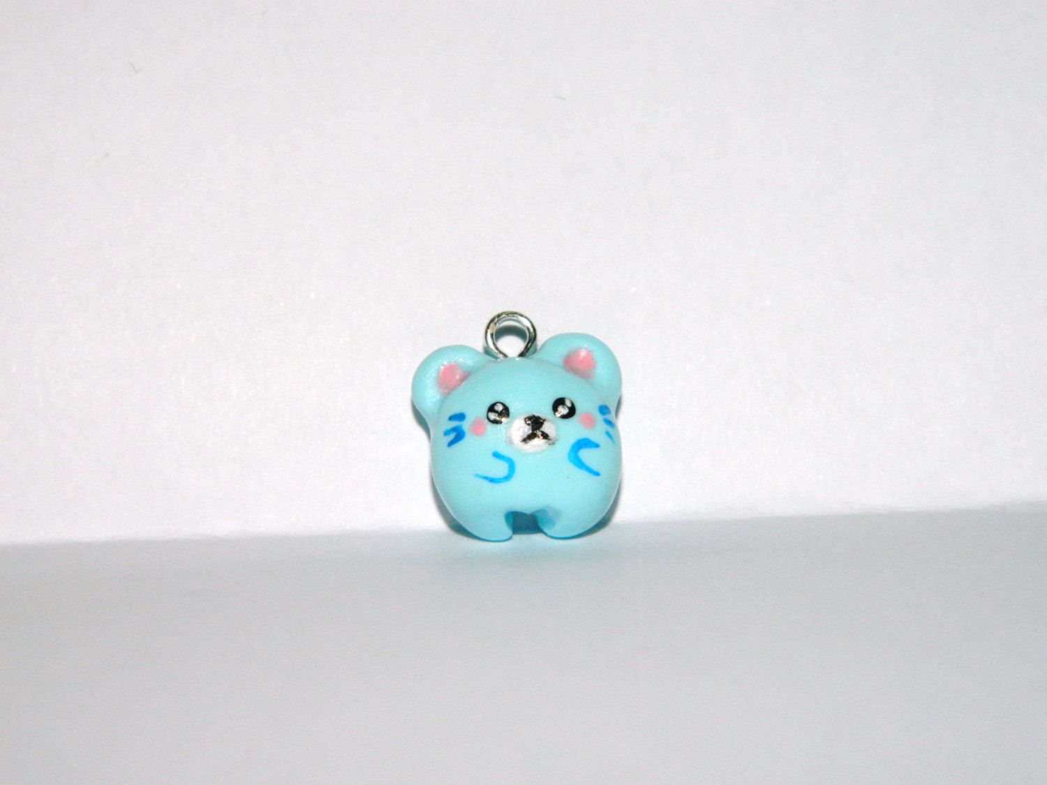 Charming kawaii blue mouse charm.-Polymer clay charm-Polymer clay mouse-Kawaii polymer clay charms-Kawaii little mouse-Blue mouse charm by EVAMARE on Etsy