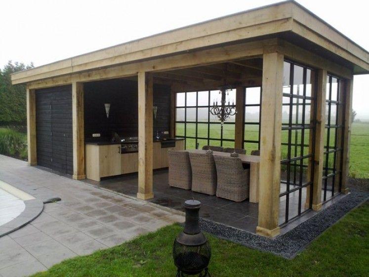 Overkapping tuinhuis van douglas in combinatie met stalen for Kosten veranda