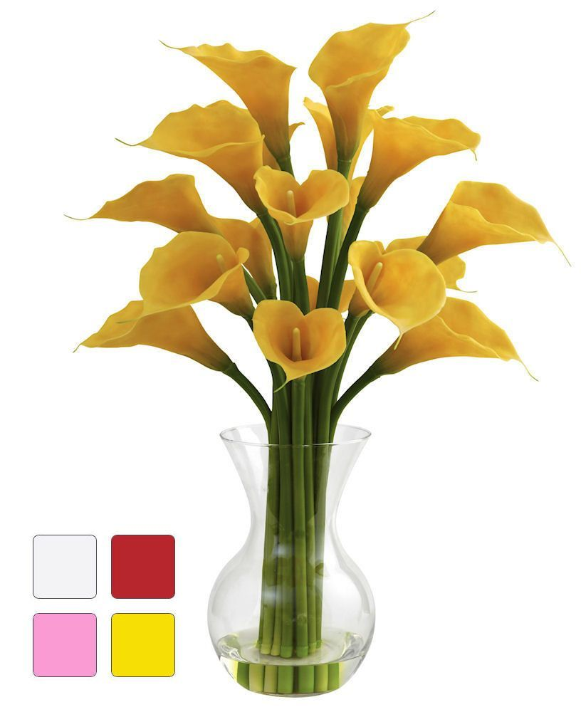 Calla Lily Silk Flowers In Water Vase In 4 Colors 26 Inches