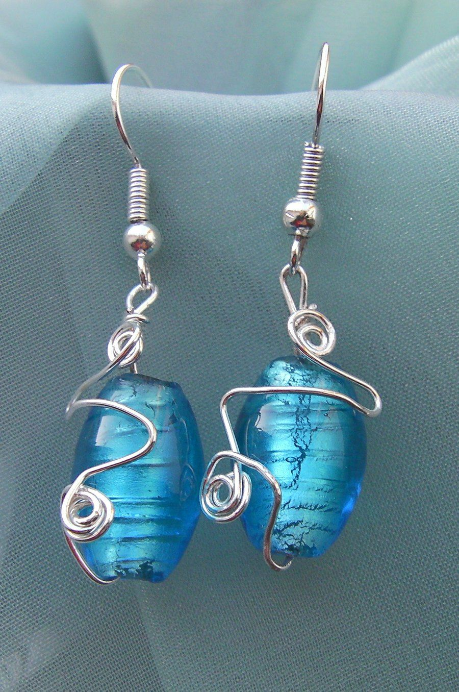 what wire to use for wire wrapped earrings | Wire Wrapped Blue Foil ...