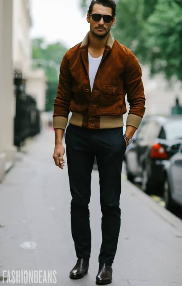 Fall look. Suede bomber jacket, white t-shirt, black pants ...