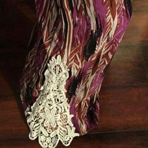 @glitzymommyof2 Beautiful Unique design elastic waist, lace wide leg palazzo pants Boutique  Pants Wide Leg