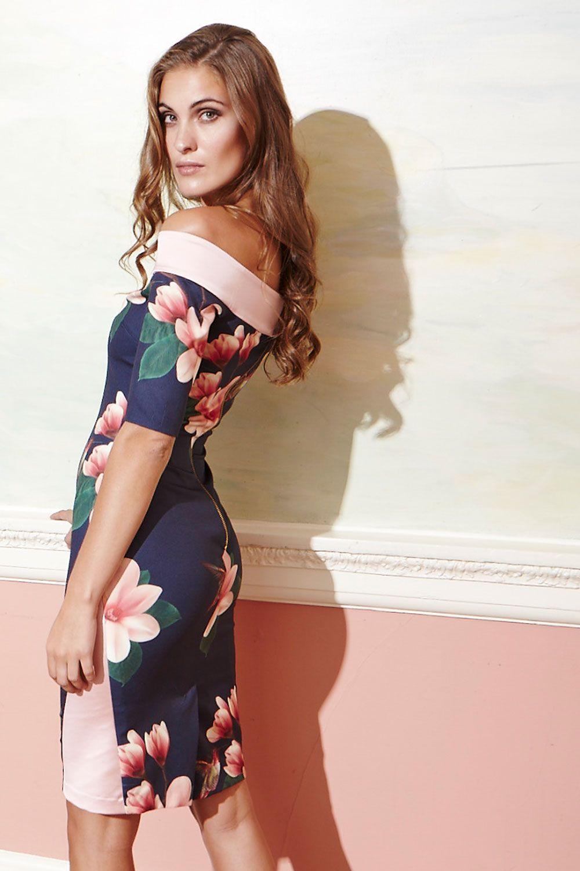 Hybrid Laurie Off Shoulder Print Dress Bird prints