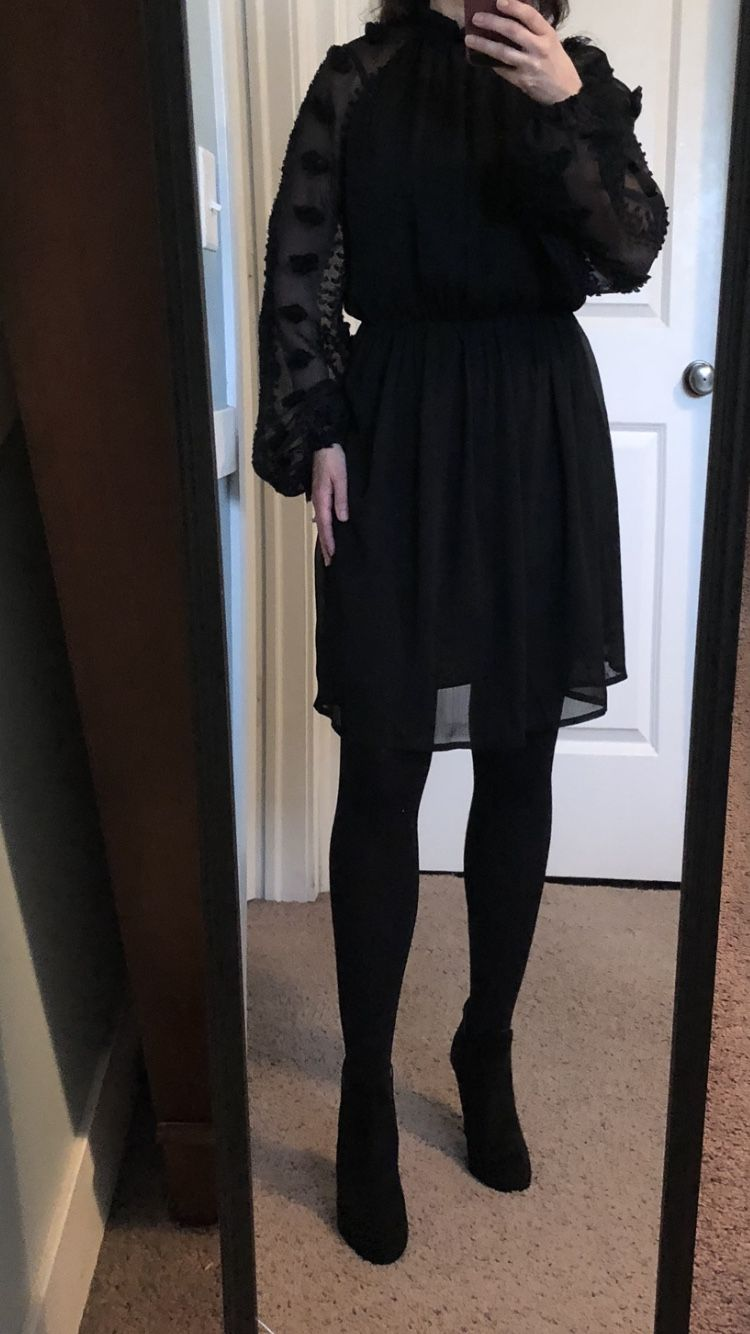 Black Dress Black Suede Boots With Heel Wedding Guest Dress Pom Pom Sleeves Long Sleeved Blac Black Long Sleeve Dress Wedding Guest Heels Black Suede Boots [ 1334 x 750 Pixel ]