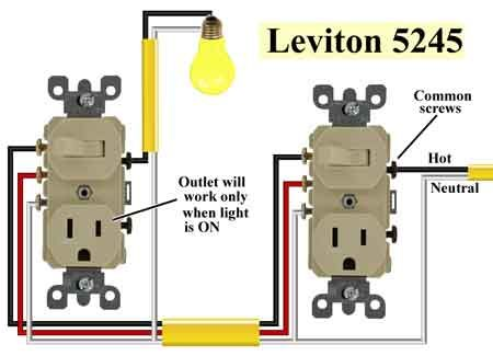 leviton 5245 wiring diagram leviton double pole switch wiring 3 way switch outlet combo at Leviton 5245 Wiring Diagram