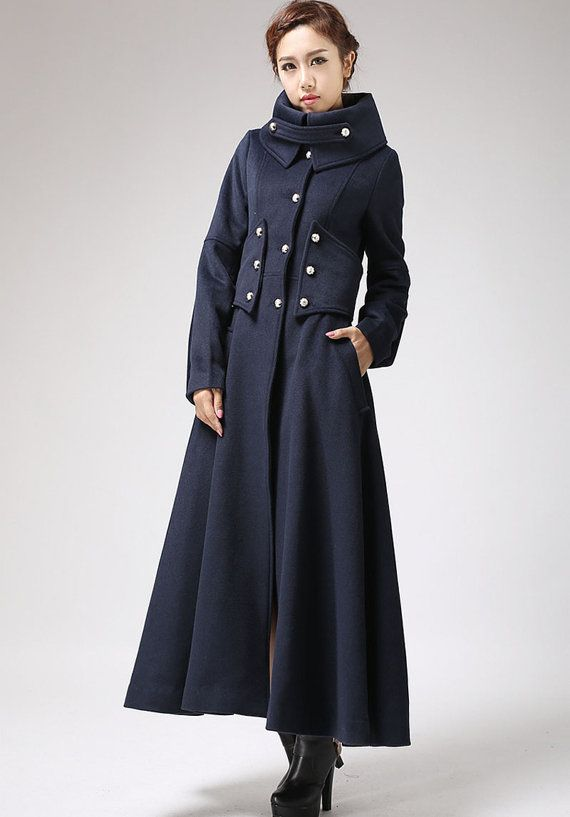 Military coat, long coat, wool coat, navy coat, warm coat, full length coat,  outwear dress, lined coat, fitted coat, mod clothing (701)