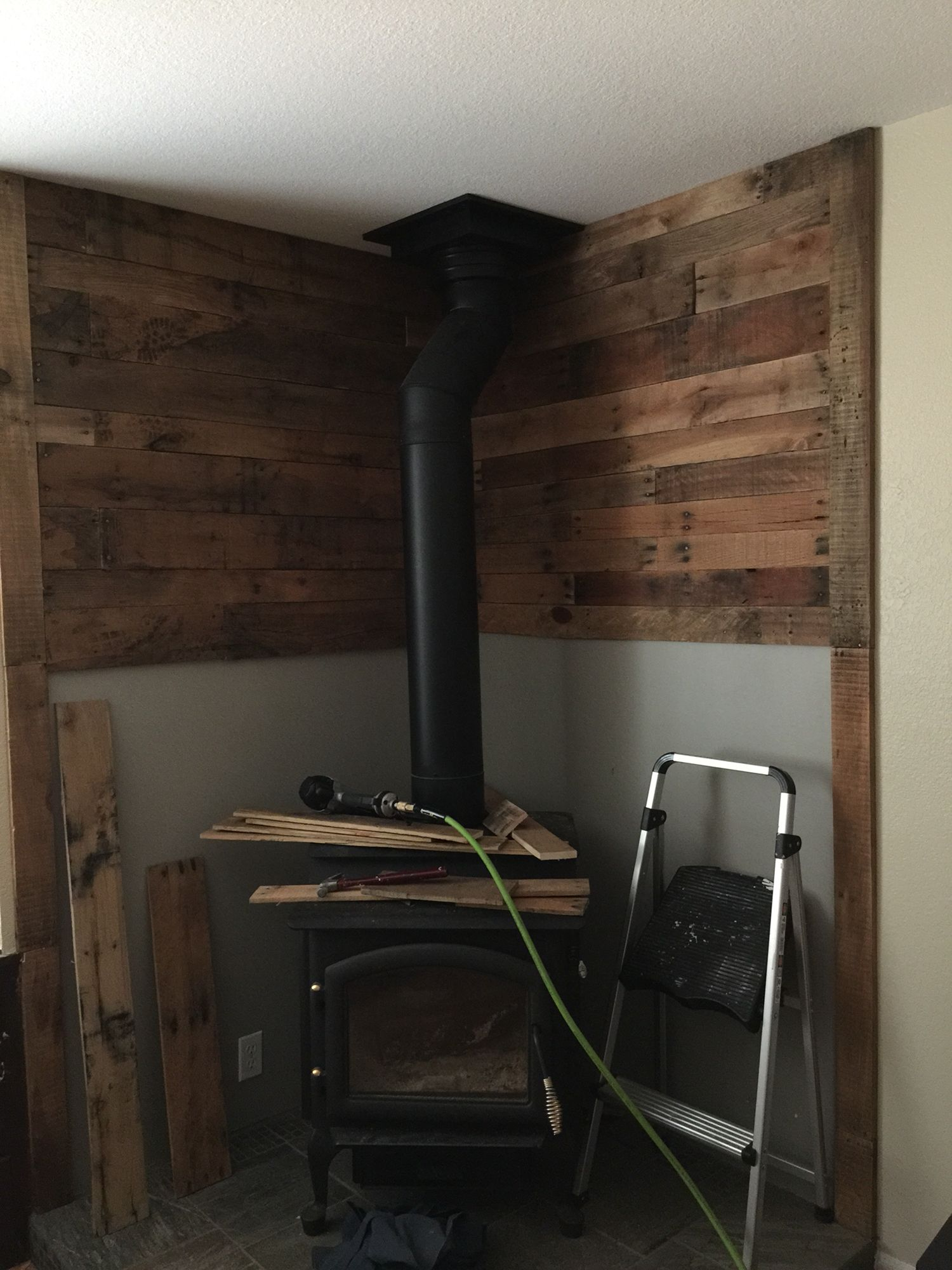 Pallet Wall Behind Wood Stove House Ideas Wood