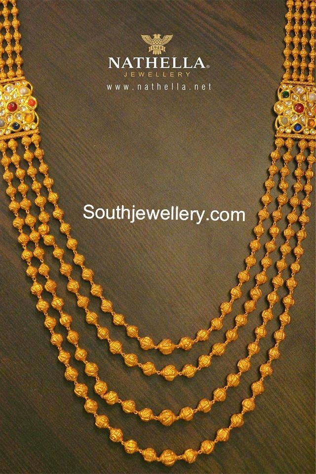 Beautiful gundla mala with four strings of gold balls chain ...