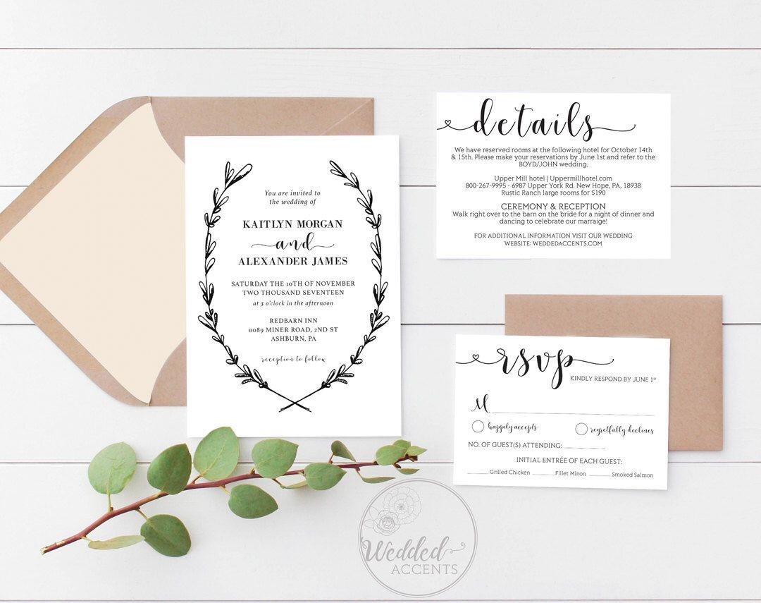 Wedding Invitation Template, Rustic Wedding Invitation, Wedding ...