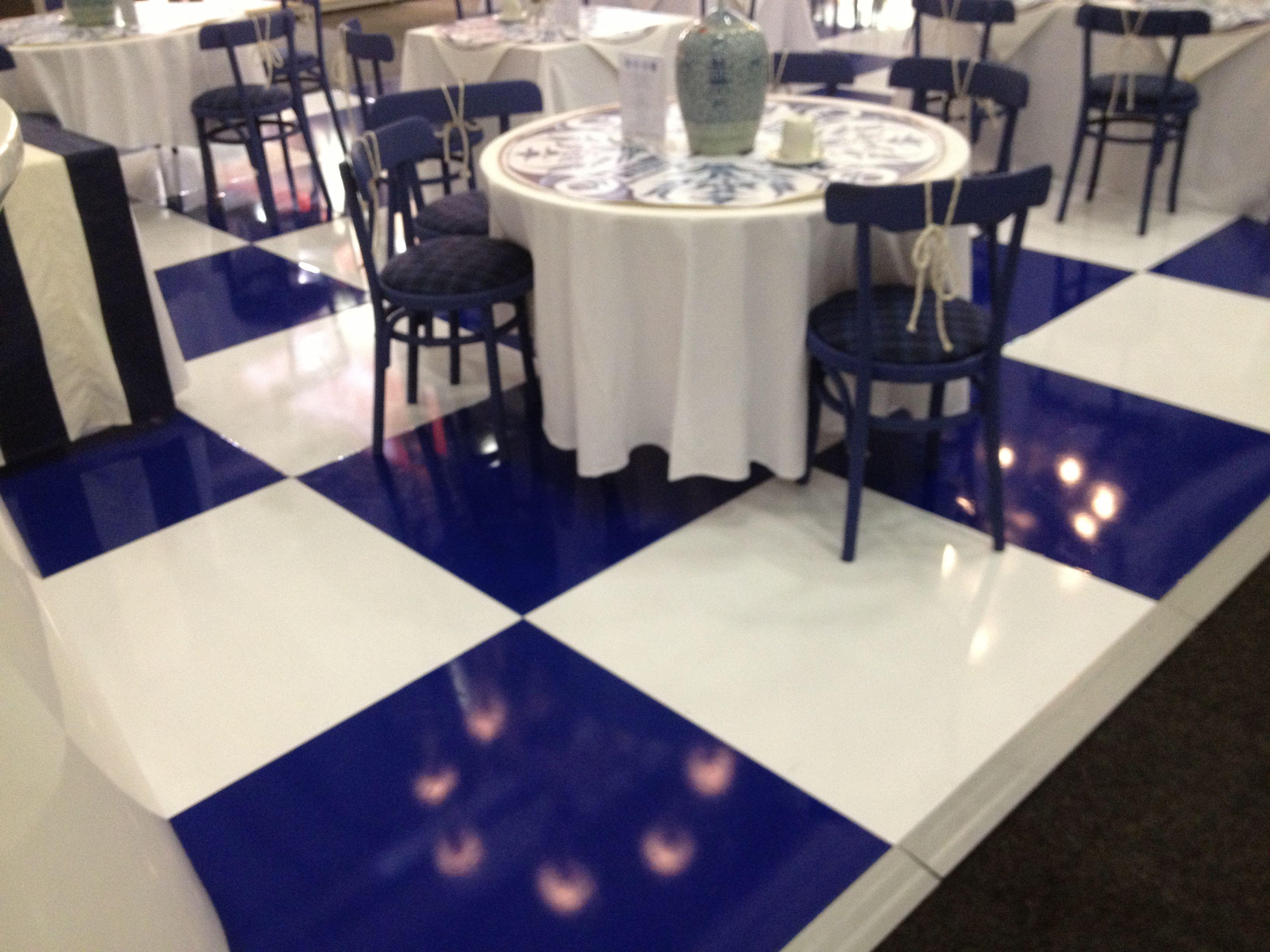 dark blue white check vinyl expo floor Colourful flooring