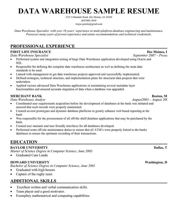 data warehouse manager resume free template