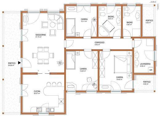Case su un piano progetti ville singole su un piano casa for Case su un piano progetti