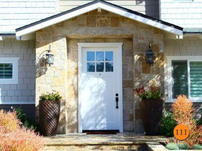 42 x 96 craftsman style single fiberglass entry door therma tru