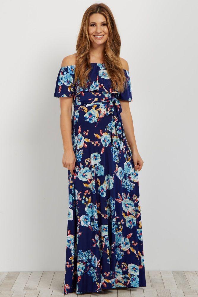 33fcf72afbd Blue Floral Off Shoulder Sash Tie Maternity Maxi Dress